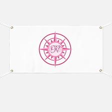 Compass, Nautical Monogram, Pink Banner