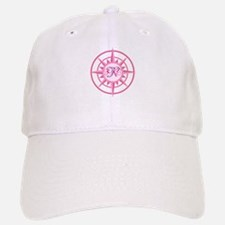 Compass, Nautical Monogram, Pink Baseball Baseball Cap