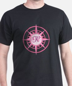 Compass, Nautical Monogram, Pink T-Shirt