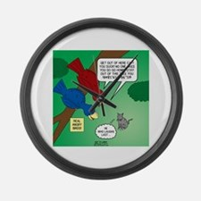 Cat and Angry Birds Large Wall Clock