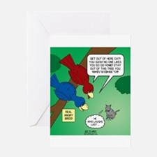 Cat and Angry Birds Greeting Card