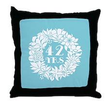 42nd Anniversary Wreath Throw Pillow