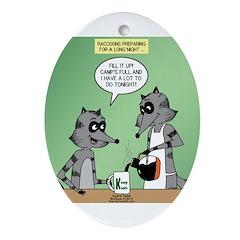 Raccoon Coffee Ornament (Oval)