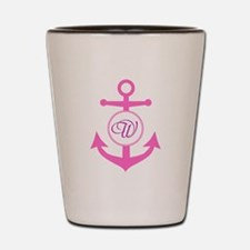 Anchor, Nautical Monogram, Pink Shot Glass