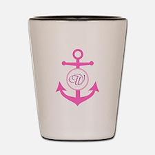 Anchor, Nautical Monogram, Pink Shot Glass