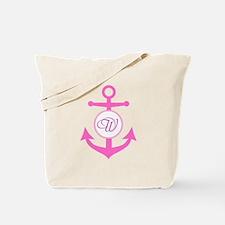 Anchor, Nautical Monogram, Pink Tote Bag