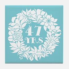 47th Anniversary Wreath Tile Coaster