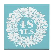 48th Anniversary Wreath Tile Coaster