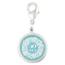 50th Anniversary Wreath Silver Round Charm
