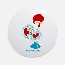 Portuguese Rooster in white Ornament (Round)