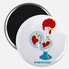 Portuguese Rooster in white Magnets