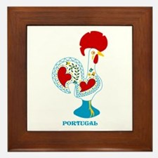 Portuguese Rooster in white Framed Tile