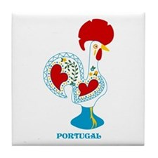 Portuguese Rooster in white Tile Coaster