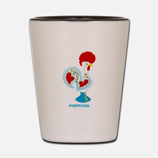 Portuguese Rooster in white Shot Glass