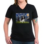 Starry Night Tri Cavalier Women's V-Neck Dark T-Sh