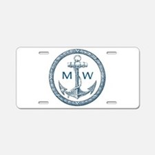 Anchor, Nautical Monogram Aluminum License Plate