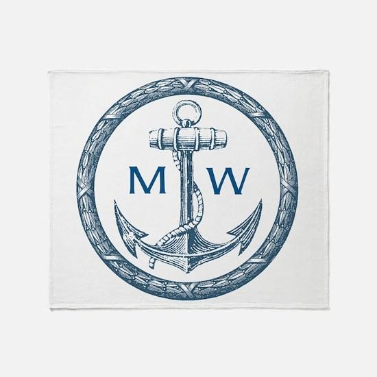 Anchor, Nautical Monogram Throw Blanket