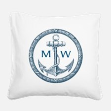 Anchor, Nautical Monogram Square Canvas Pillow