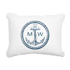 Anchor, Nautical Monogram Rectangular Canvas Pillo