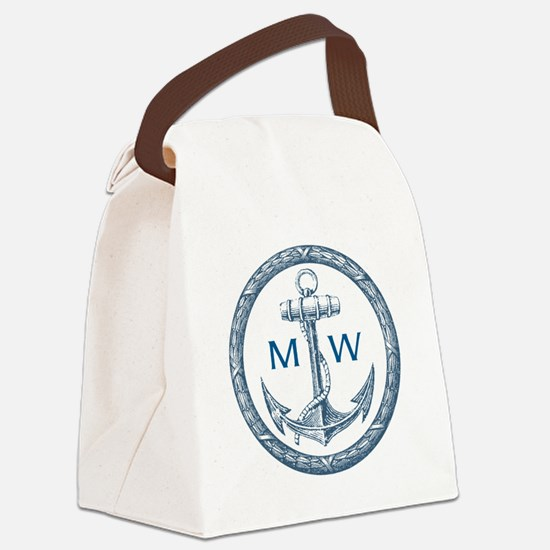Anchor, Nautical Monogram Canvas Lunch Bag