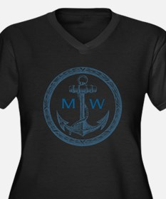 Anchor, Nautical Monogram Plus Size T-Shirt
