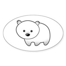 Cute Polar Bear Oval Decal