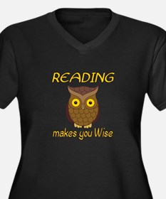 Reading Wise Women's Plus Size V-Neck Dark T-Shirt