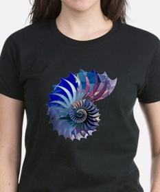 Mosaic Polygon Blue & Purple Nautilus Shell T-Shir