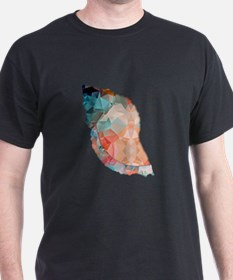 Mosaic Polygon Orange & Turquoise Conch Shell T-Sh