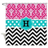 Pink and teal monogram customized Shower Curtains