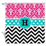 Damask initial Shower Curtains