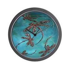 Dragonfly Flit Turquoise Wall Clock