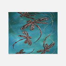 Dragonfly Flit Teal Throw Blanket