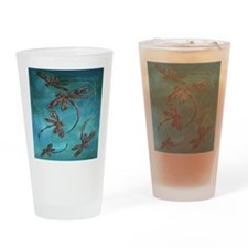 Dragonfly Flit Turquoise Drinking Glass