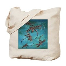 Dragonfly Flit Turquoise Tote Bag