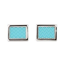Blue and white chevrons 1 Rectangular Cufflinks