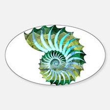 Mosaic Polygon Blue & Green Nautilus Shell Decal