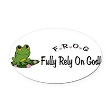 Unique Fully relying on god Oval Car Magnet