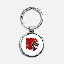 Beware The Wolf Round Keychain