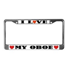 I Love Oboe License Plate Frame