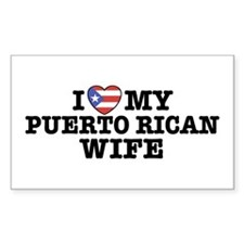I Love My Puerto Rican Wife Rectangle Decal