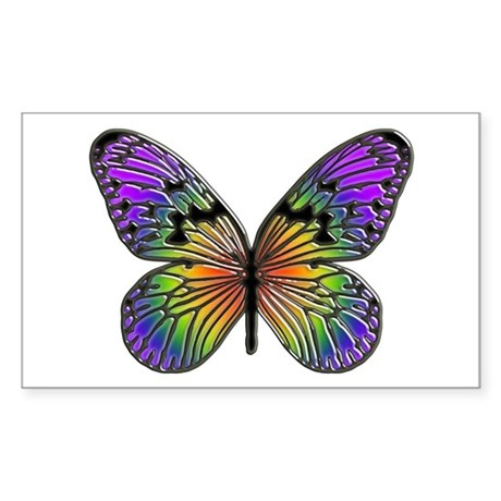 Rainbow Butterfly Rectangle Sticker