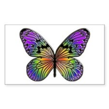 Rainbow Butterfly Rectangle Stickers