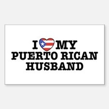 I Love My Puerto Rican Husband Sticker (Rectangula