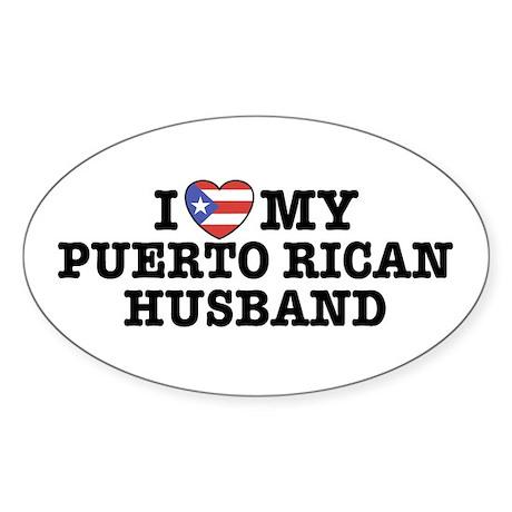 I Love My Puerto Rican Husband Oval Sticker