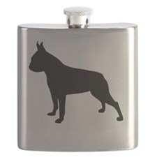 boston terrier black 1 Flask