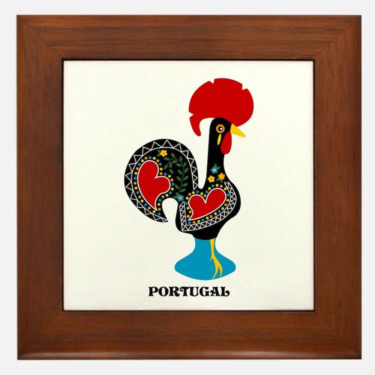 Portuguese Rooster of Luck Framed Tile
