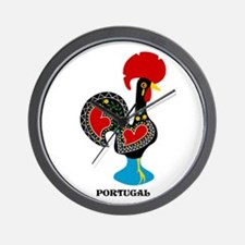 Portuguese Rooster of Luck Wall Clock