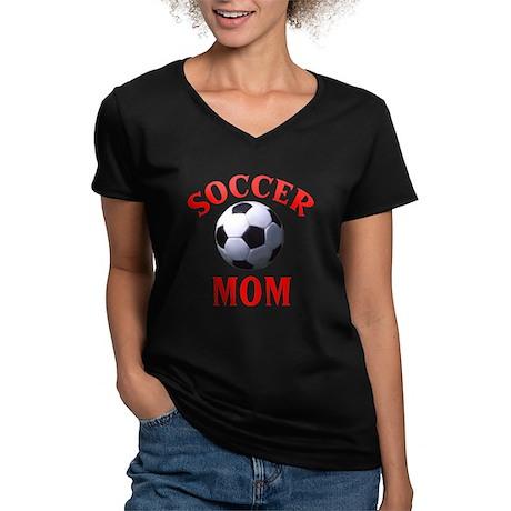 """""""Soccer Mom"""" Women's V-Neck Dark T-Shirt"""