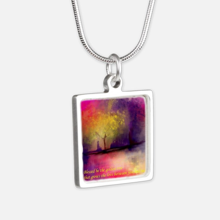Golden Tree Silver Square Necklace